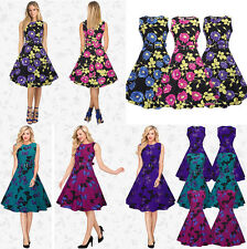 Elegant 1950's Vintage Style Floral Bridesmaid Party Swing Tea Dress New 8 - 18