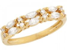 10k / 14k Yellow Gold White CZ Princess Eternity Band Ladies Ring