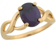 10k / 14k Yellow Gold Amethyst Solitaire Infinity Design Band Unique Ladies Ring