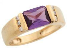 10k / 14k Yellow Gold Simulated Alexandrite White CZ Accent Classic Ladies Ring