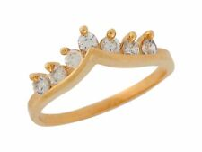 10k / 14k Yellow Gold White CZ A-shaped Crown Ladies Chic Ring