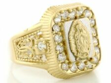 10k / 14k Solid Gold Guadalupe CZ Stone Mens Ring Jewelry