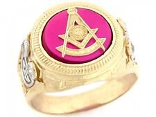 10k / 14k Gold Past Master Freemason Masonic Simulated Ruby CZ Mens Ring