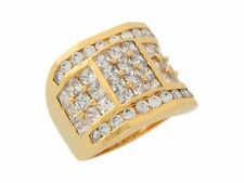 10k / 14k Yellow Gold White CZ Unique Square Design Modern Mens Wide Band Ring