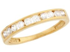 10k / 14k Yellow Gold White CZ Thin Sleek Eternity Band Ladies Ring