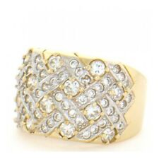 10k / 14k Solid Yellow Gold Cluster Cocktail Band Ring
