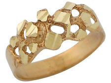 10k / 14k Yellow Gold Gold Nugget Style Unisex Wide Band Ring