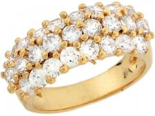 10k / 14k Yellow Gold White CZ Luxurious Eternity Band Ladies Ring