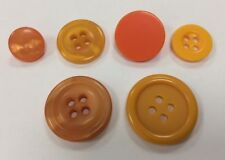 Orange buttons x 5  8 designs 10mm- 23mm pearlescent 2 / 4 hole shanks tangerine