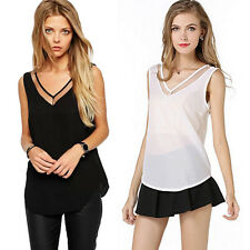 Chic Women's Sleeveless Sheer Tank Tops Open Back See-through Mesh Casual Vest