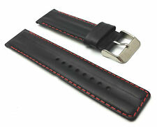 GENUINE LEATHER PADDED WATCH REPLACEMENT STRAP BAND MENS STAINLESS STEEL BUCKLE