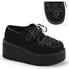 "CREEPER-216 3"" BIKER GOTH CASUAL D-RING VAMP  LACE UP SUEDE PLATFORM SHOES"