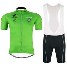 Tour de France GREEN Cycling Clothing Jersey & Bib Shorts Kit Coolmax one set