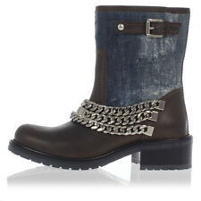 DSQUARED2 New women Blue Brown Leather Denim boot Shoes Made in Italy