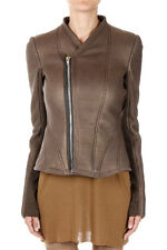 RICK OWENS Women Brown Shearling PRINCESS BIKER Jacket New with Tag
