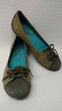 Merrell olive green leather/suede ballet flat 7 EUC