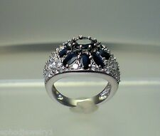 Womens Flower Cluster Ring Genuine Blue Sapphire White CZ .925 Sterling Silver