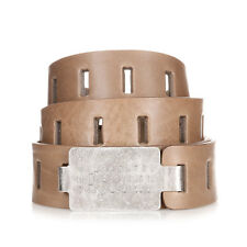 MARTIN MARGIELA MM11 Men Beige Perforated Leather Belt Made in Italy New