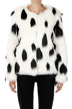 DONT BELIEVE THE HYPE New Women Black White Faux Fur Long sleeve Jacket