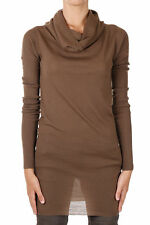 RICK OWENS New Woman Brown Virgin wool Faun Long sleeve Sweater Tee Made Italy