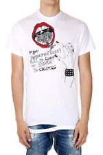 DSQUARED2 Dsquared² Men Print White Cotton Tee crewneck T-shirt Made Italy New