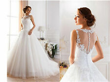 Ball Gown WHITE/ivory WEDDING dress Bridal Gown Size 2 6 8 10 12 14 16