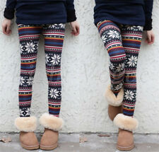 New Sexy Women Warm Winter Deer Snowflake Knitted Leggings Pants Trousers d03