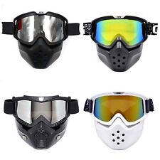 Motorcycle Helmet Snow Goggles Face Mask Shield Filter Tinted Lens Detachable