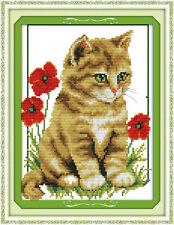 Cat and poppy cross stitch kits animal flower aida 14 counted print fabric set