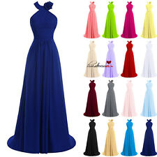 New STOCK Long Formal Prom Ball Party Evening Gowns Halter Bridesmaid Dress 6-20