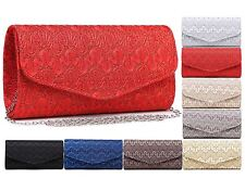 LADIES EVENING LACE CLUTCH SMALL SHOULDER BAG DESIGNER QUALITY ELEGANT BAG NEW