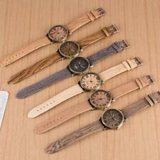 Vintage Jewelry Quartz Analog Wooden Wristwatch Leather Strap