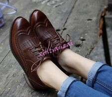 Womens Oxfords Brogues Flats Tassels Wing tip Lace Up Leisure Girls Shoes 4.5-9