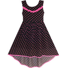 Girls Dress Hi-lo Polka Dot Pleated Chiffon Party Dress Size 7-14 US Seller