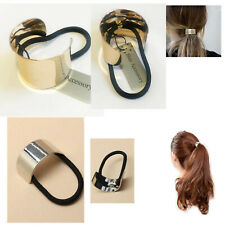 Metal Hair Ponytail Ring Cover Silver Cuff Ring Black Elastic Hair Style Holders