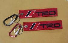 TRD Embroidery KEYCHAIN KEY RING D RING ALUMINUM CARABINER LOGO FABRIC red