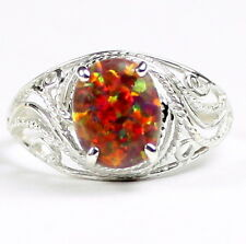 Created Red Brown Opal, 925 Sterling Silver Ring-Handmade, SR083