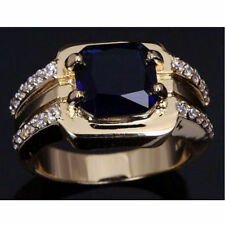 Size 8,9,10,11,12 Fashion Man Blue Sapphire Yellow Gold Filled Wedding Ring NEW