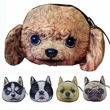Bag Pouch 3d Dog Face Wallet Zipper Case Coin Purse for Women/children