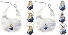 Baby Infant Christening Baptism White Bib Wipe Gold Silver Holy Virgin Mary Pope