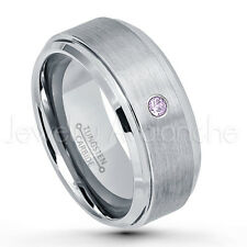 0.07ct Amethyst Solitaire Ring, February Birthstone, Tungsten Wedding Band #023