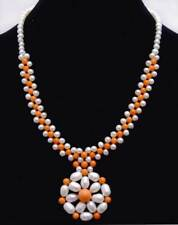 5-6mm White Pearl & Orange Coral with 35-40mm Pendant 3 strands Necklace-nec6218