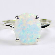 Created White Opal, 925 Sterling Silver Ladies Ring, SR055-Handmade