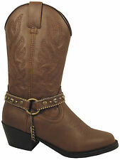 Smoky Mountain Boots Youth Girls Charleston Brown Faux Leather Cowboy