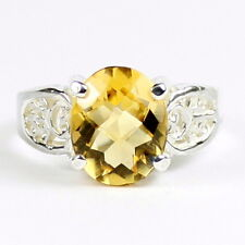 Citrine, Solid 925 Sterling Silver Ladies Ring, SR369-Handmade
