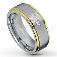 0.07ct Amethyst Solitaire Ring, February Birthstone, 2-Tone Tungsten Ring #132