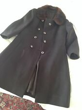 Vintage Brown Coat With Mink Collar - Size Small