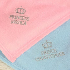 Personalised Embroidered Name Royalty Fleece Blankets Gift for Baby Boy or Girl