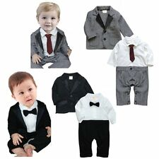 Baby Boy Wedding Christening Formal Party Tuxedo Suit Clothes Outfit+Jacket Set