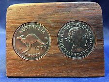 40th Birthday Gift Present Jarrah Plaque with 1977 replica pennies (other years